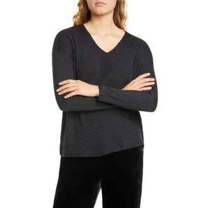 Eileen Fisher Sweater L V-Neck Ribbed Knit Tencel